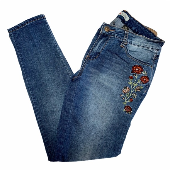 Love Indigo Floral Embroidered Skinny Jeans Sz 10